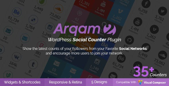 Social Counter Plugin for WordPress - Arqam - 1