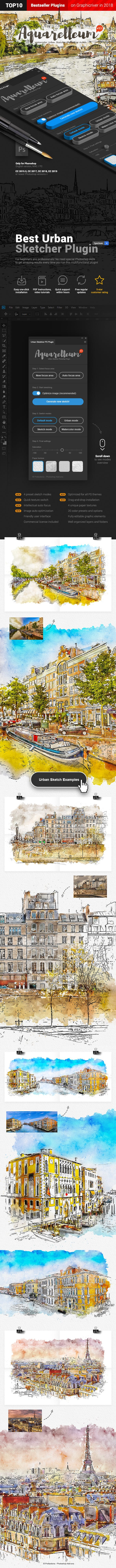 Aquarelleum - Urban Sketcher Photoshop Plugin - 1