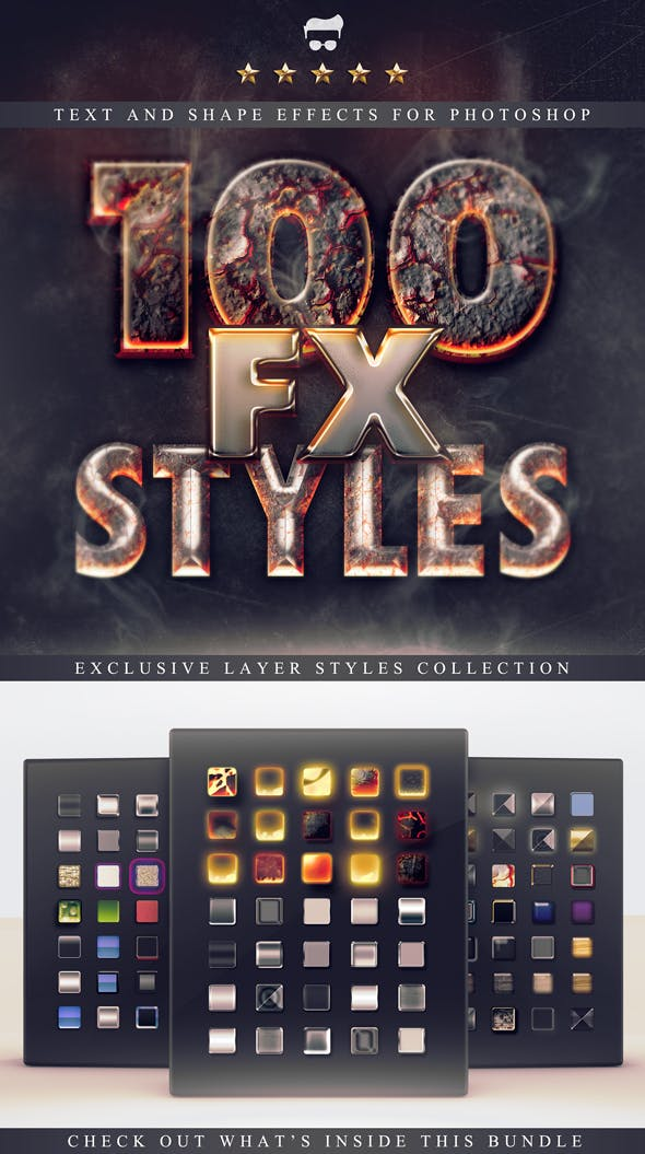 100 Layer Styles Bundle - Text Effects Set - 1