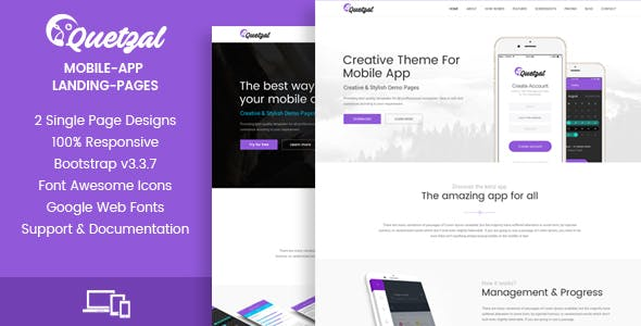 Quetzal - HTML App Landing Pages - 1